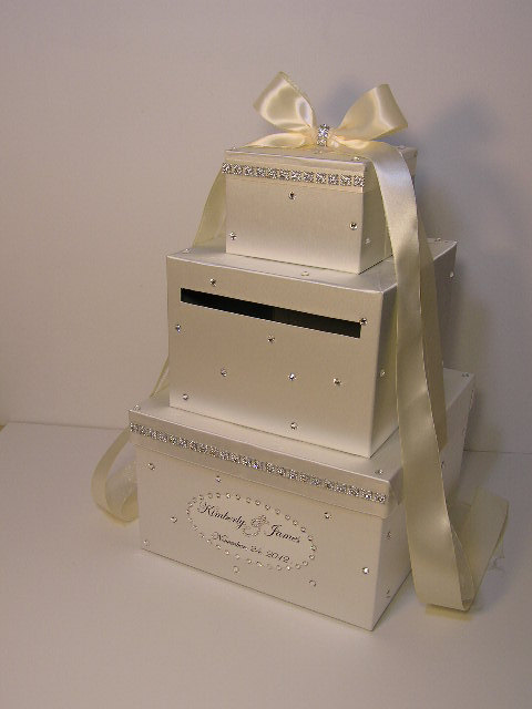 ivory wedding card box gift card box money box holder customize your color