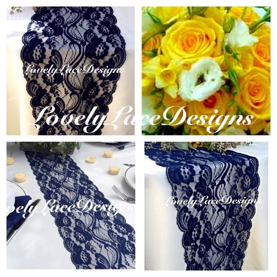 Wedding Decor Navy Blue Lace Table Runner 3ft To 10ft Long