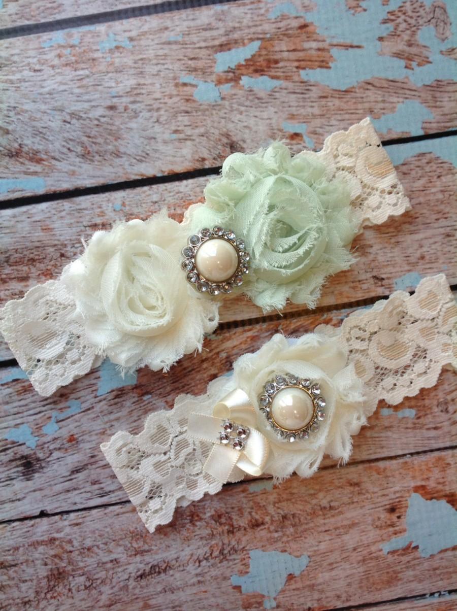 Свадьба - Wedding Garter  / Mint / bridal  garter/  lace garter / toss garter included /  wedding garter / vintage inspired lace garter