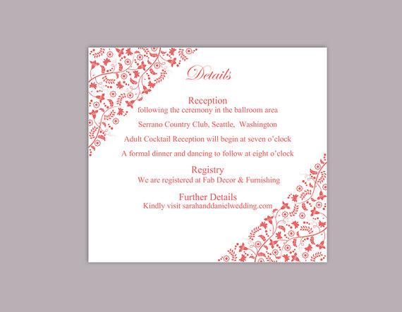 Свадьба - DIY Wedding Details Card Template Editable Text Word File Download Printable Details Card Red Details Card Template Enclosure Cards