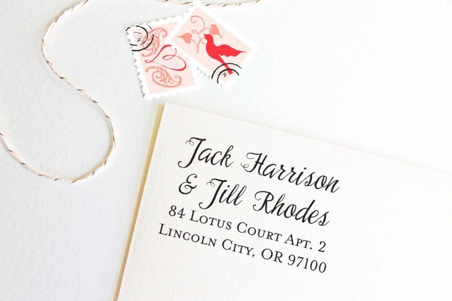 زفاف - Return address stamp for couples with different last names, self inking, script, rubber stamp wood handle