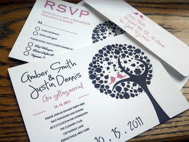 Wedding - letterpress wedding invitation, letterpress, wedding invitation, custom wedding, invitation,Tree with Two Love Birds, Deposit