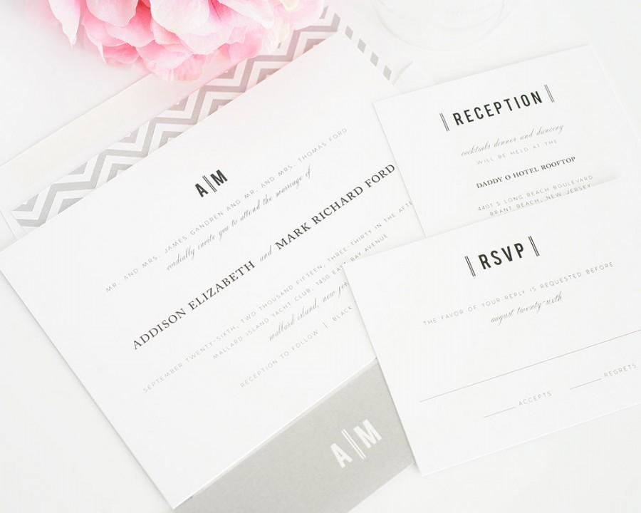 Traditional Elegant Wedding Invitations: Elegant Grey Wedding Invitation