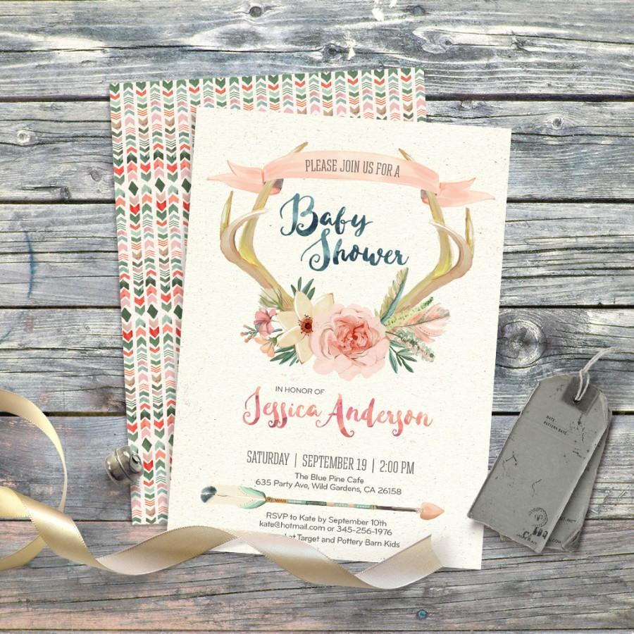 deer floral antlers watercolor boho baby shower invitation digital