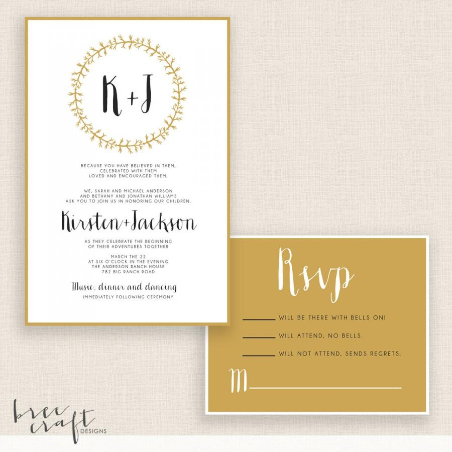 MODERN & GOLD - DIY Printable Wedding Set - Invitation And Reply ...