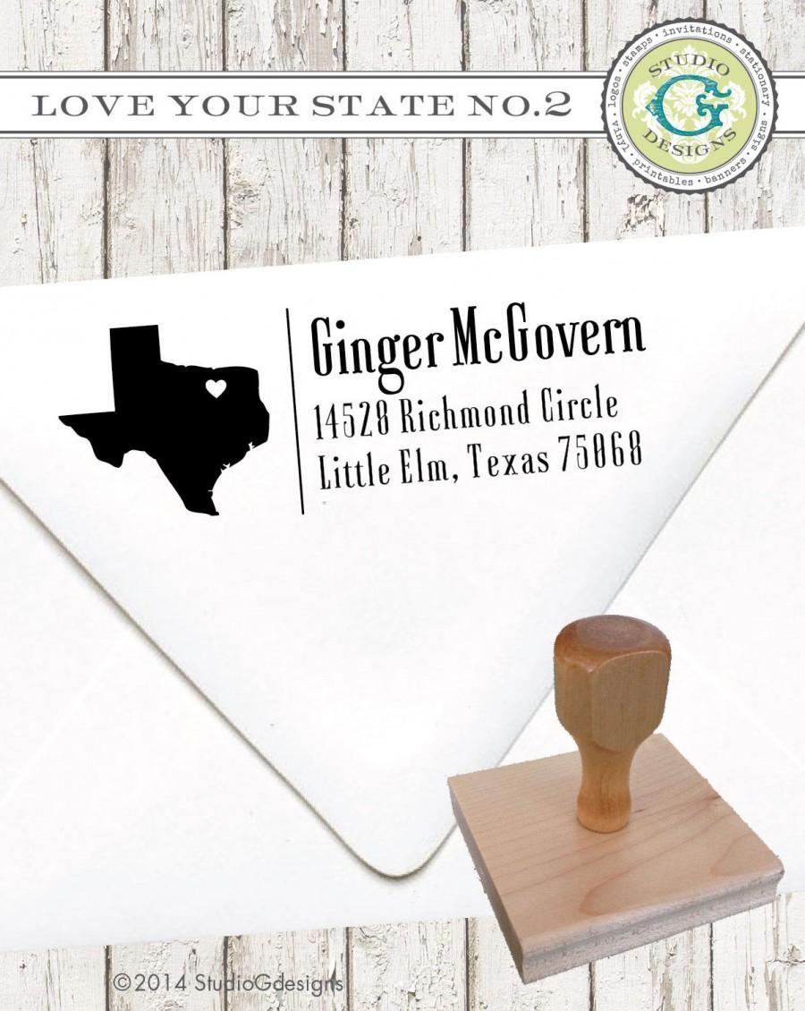 زفاف - Return Address Stamp – 1x3 in LOVE Your CITY and STATE No.2 Personalized Wedding Paper Goods