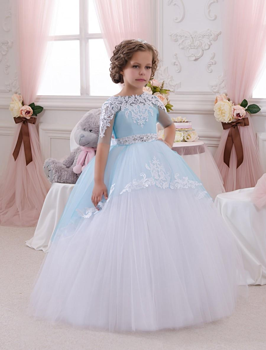 White And Blue Flower Girl Dress Wedding Party Holiday Birthday