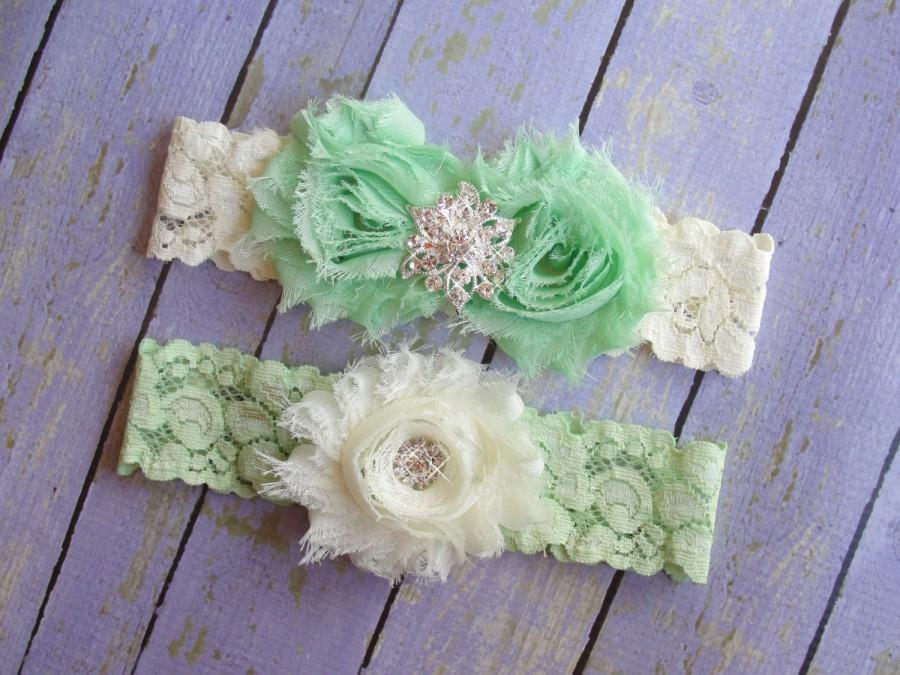Свадьба - HUGE SALE Mint Garter, Light Green Wedding Garter, Ivory Garter, Mint and Ivory Garter, Wedding Belt, Green Garter, Green Bridal Garter