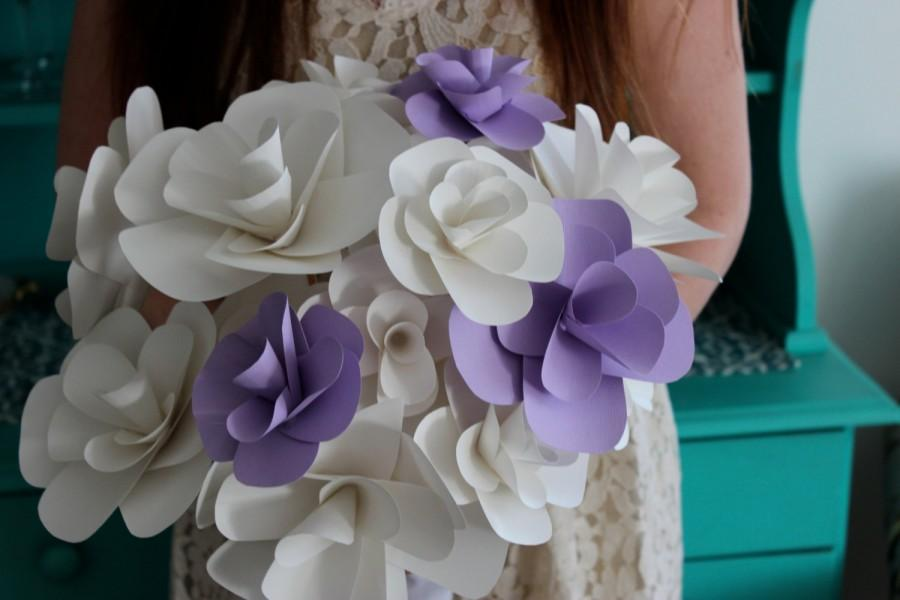 Hochzeit - White and Lilac Paper Flower Wedding Bouquet