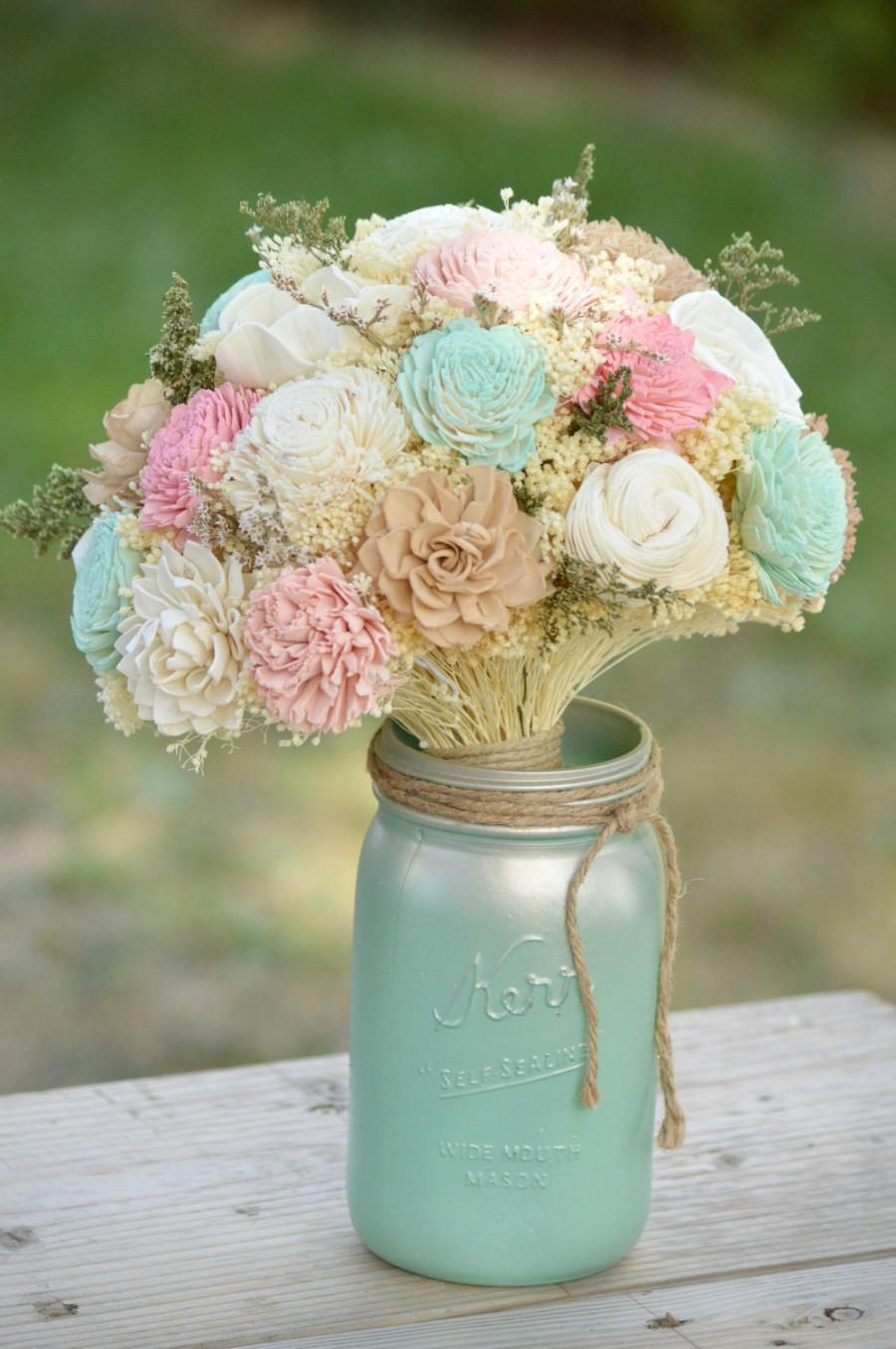 Свадьба - Custom Large Wedding Bridal Bouquet Sola Flowers and dried Flowers PInk, Ivory, Tan and Mint