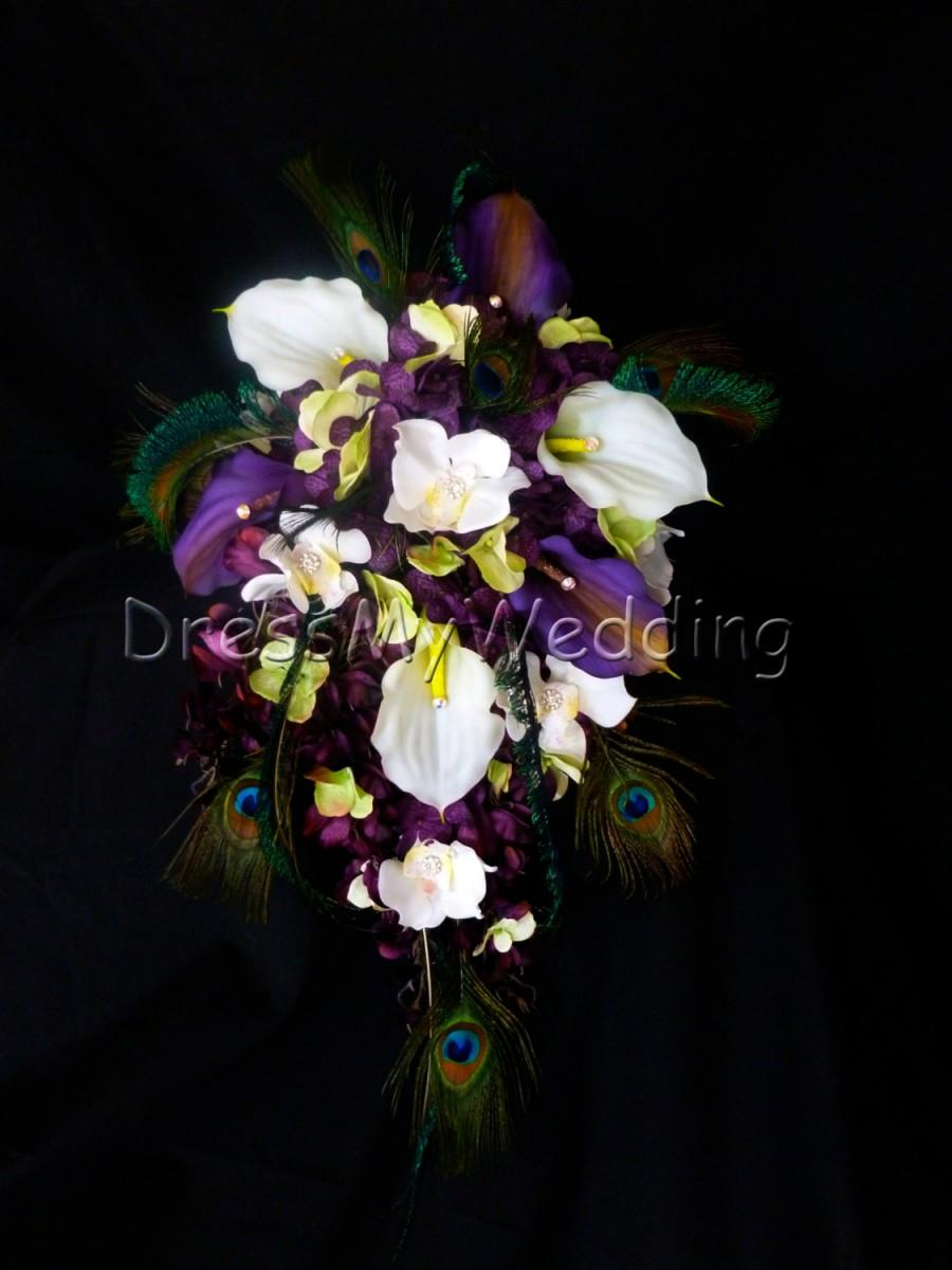 Hochzeit - Plum purple cascading bouquet, white and plum calla liles,  hydrangeas, orchids, lime green accent,  eggplant purple bouquet