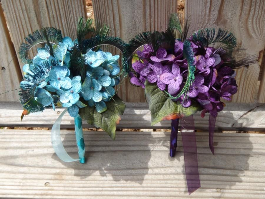 Hochzeit - Hydrangea bouquet with peacock feathers for bridemaids, brides, Custom orders are accepted for more colors
