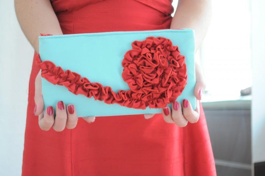 Wedding - The Kimberly Clutch - Aqua Blue and Cherry Red, bridal wedding purse, bridesmaids ruffle clutch, formal purse
