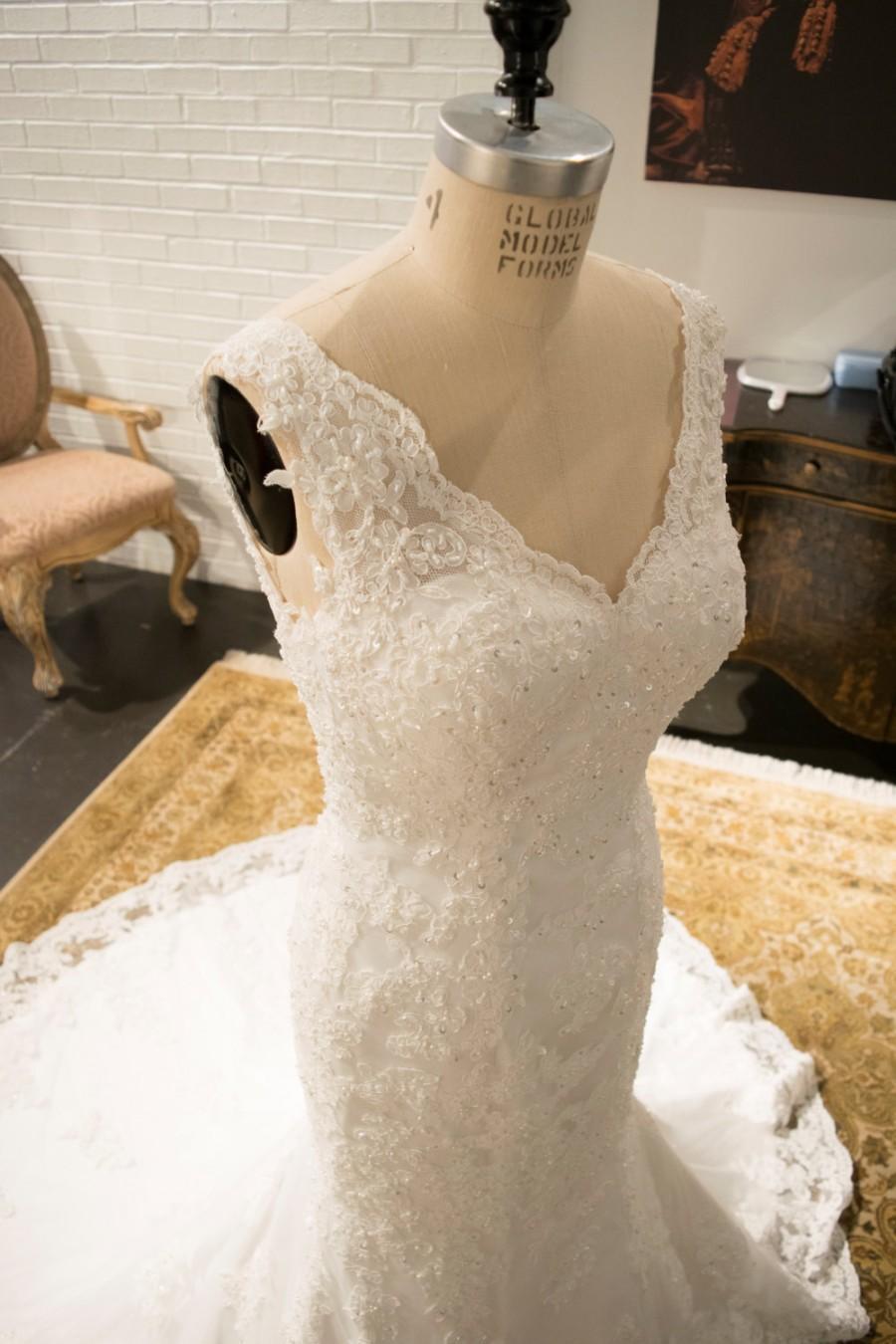 Lace Mermaid Wedding Dress Scalloped Lace Edge Deep V