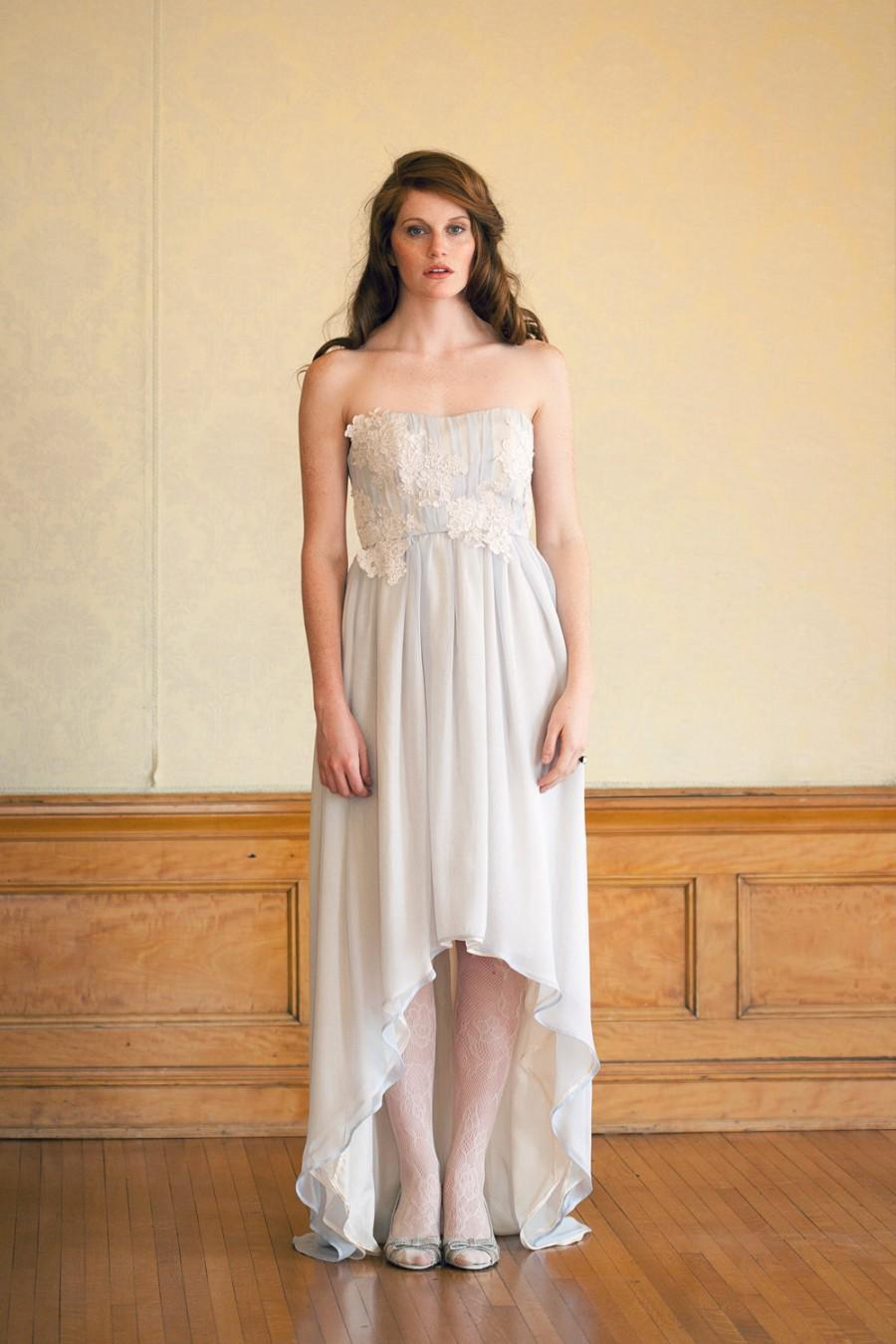 Blue Bohemian Strapless Wedding Dress With Lace And High-Low Skirt ...