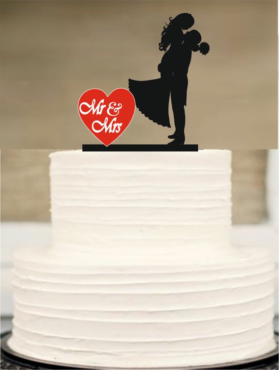 Wedding - Mr and Mrs wedding Cake topper, Silhouette Wedding Cake topper, Funny Wedding Cake Topper, İnitial Cake topper, Briden and Groom Cake Topper