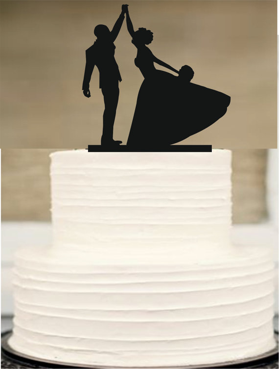 Wedding - Wedding Cake Topper, Silhouette Wedding cake topper, Bride and Groom Wedding Cake Topper, Funny Wedding Cake Topper, Acrylic Cake Topper