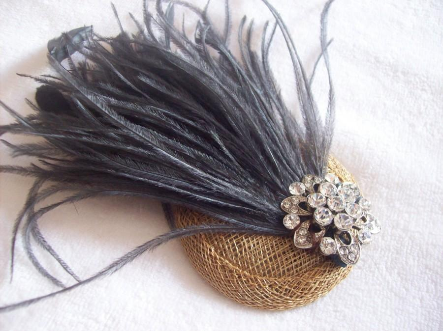 New Handmade 1920s Inspired Bronze And Dark Grey Feather Fascinator ... 857de23caf2