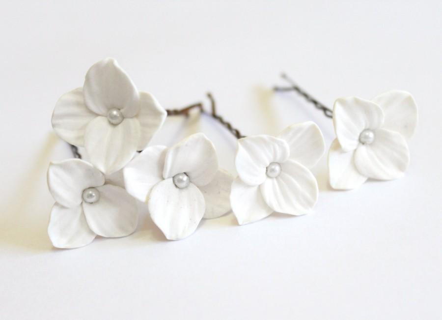 Свадьба - White Hydrangea - Flower Accessories - Hydrangea Wedding Hair Accessories, Wedding Hair Flower Hair, Bridesmaid Jewelry - set