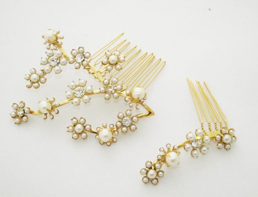 Свадьба - Bridal Hair Combs, Gold Leaf Crowns, Gold Hair Wreath, Bride Headpieces, Pearl hair combs, Bridal accessories tiara, Gypsophila hair Jewelry