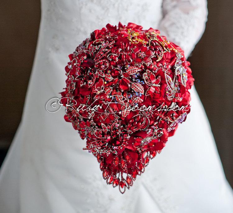 """Hochzeit - Cascading Silver Red Wedding Brooch Bouquet. Deposit - """"Ruby Red Valentine"""". Cascading Red Wedding Bouquet. Silver Bridal Broach Bouquet"""