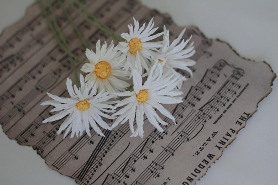 Hochzeit - paper daisies paper wedding daisies bridal daisies bouquet wedding flowers paper daisy paper flowers paper rustic flowers paper chamomiles