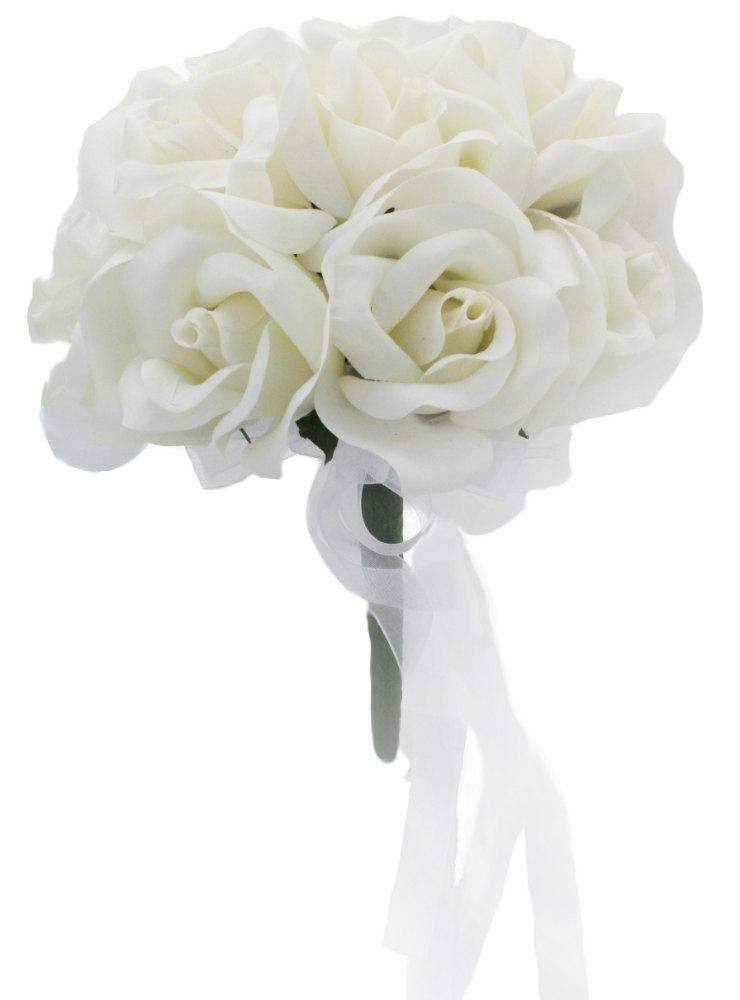 Hochzeit - Ivory Silk Rose Toss Bouquet - Silk Bridal Wedding Bouquet
