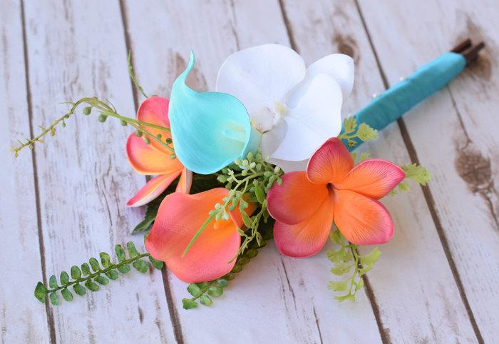 Hochzeit - Small Wedding Coral Orange and Turquoise Teal Natural Touch Orchids, Callas and Plumerias Silk Flower Small Bridesmaid Bride Bouquet