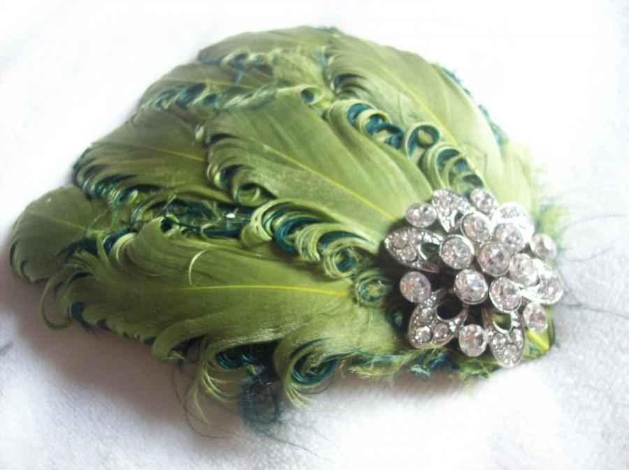Свадьба - New handmade 1920s inspired green feather fascinator