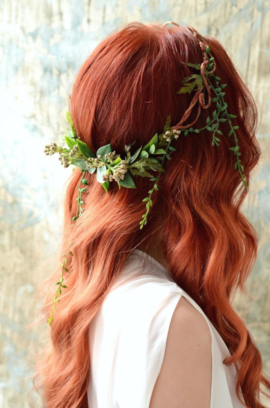 Hochzeit - Goddess leaf crown, Woodland headpiece, Forest crown, Leaf circlet, Rustic wedding, Hair accessories