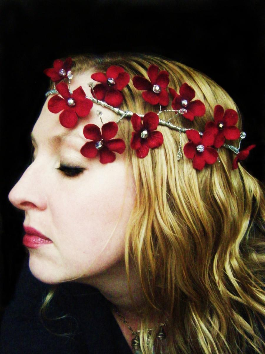 Mariage - Red Velvet Flower Bridal Headpiece crown halo garland with silver and crystal beads