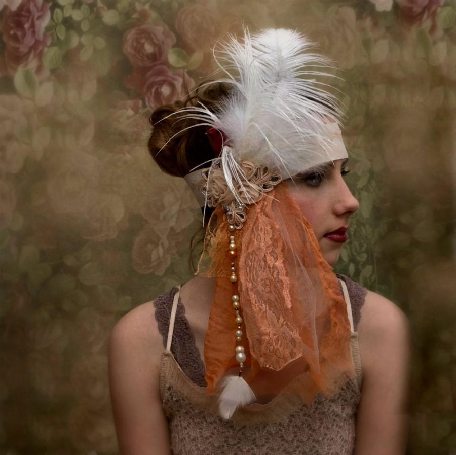 Hochzeit - Peach and ivory bridal 1920s Flapper headdress.  Bohemian wedding headdress. Downton Abbey headpiece.