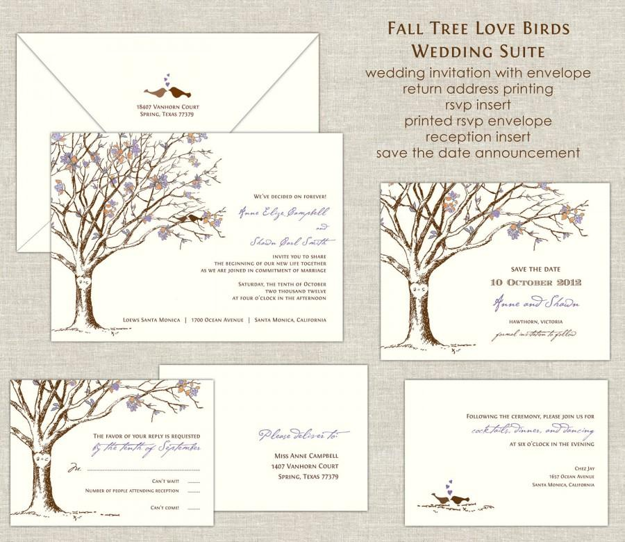 Fall Tree Love Birds Wedding Invitations Wedding Invites Tree ...