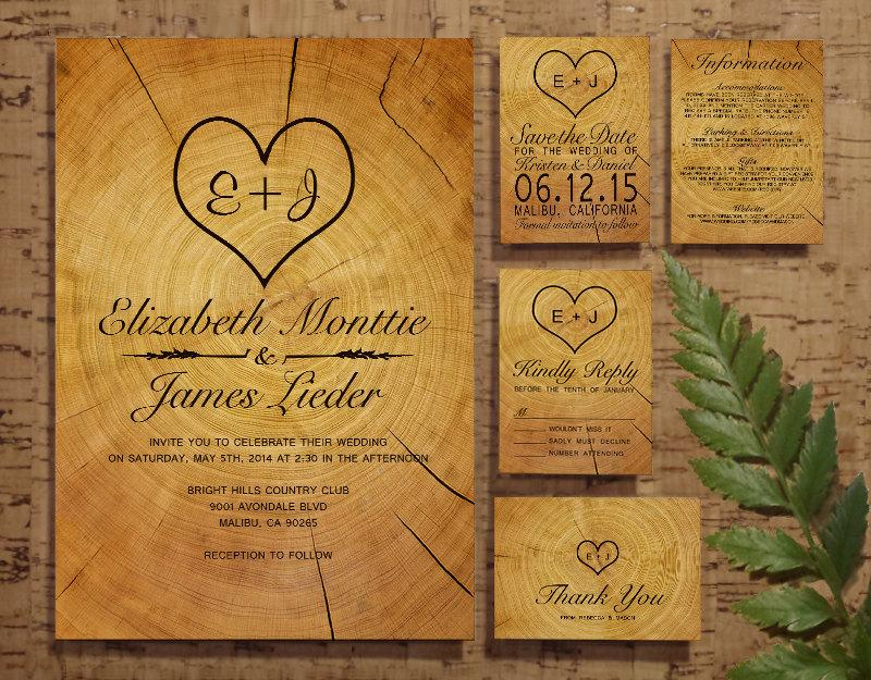Wedding - Tree Ring Wedding Invitation Set/Suite, Invites, Save the date, RSVP, Thank You Cards, Info Response Cards, Printable/Digital/PDF/Printed