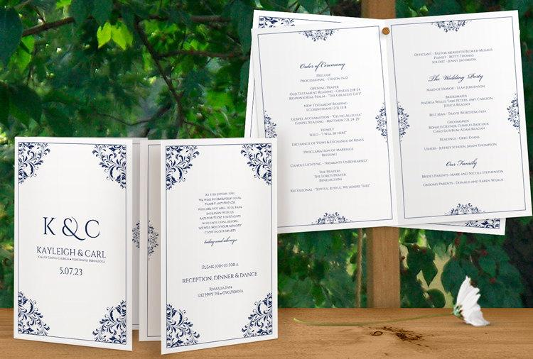 Hochzeit - Wedding Program Template - DOWNLOAD Instantly - EDITABLE TEXT -Nadine Foldover (Navy) (Microsoft Word Format - .docx)