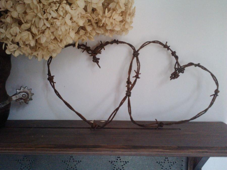 Wedding - Entwined rusty barbed wire hearts home wedding decor