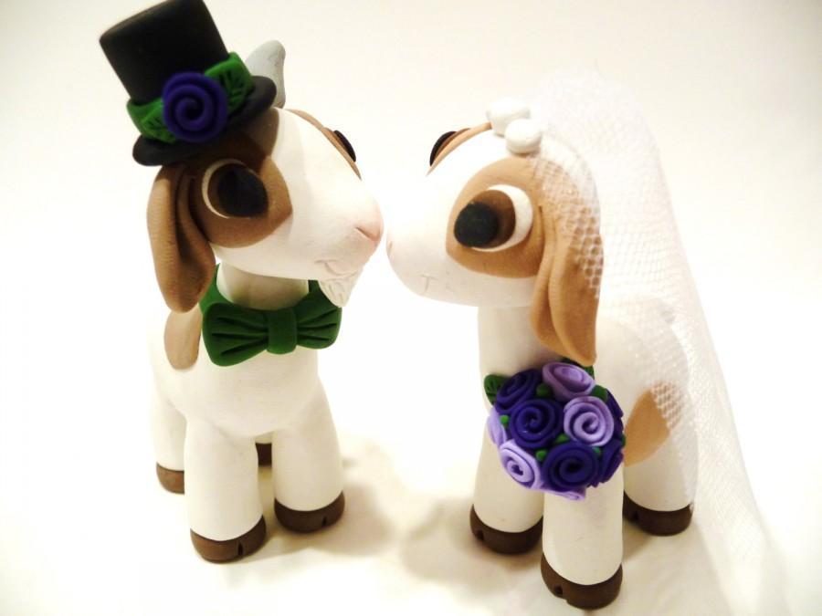 Hochzeit - Goat Wedding Cake Topper - Choose Your Colors