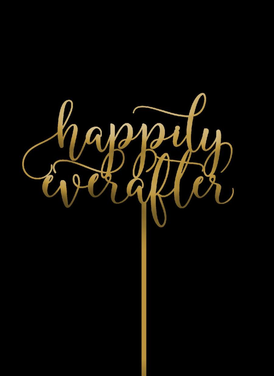 Hochzeit - Happily ever after -  Cake Topper - Wedding Cake Topper -  Gold Cake Topper