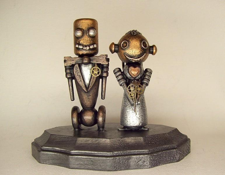 Hochzeit - Robot Wedding Cake Topper Classic Bride and Groom Wood Statues