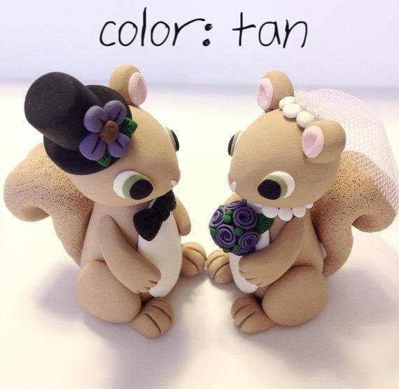 Hochzeit - Squirrel Wedding Cake Topper - Choose Your Colors
