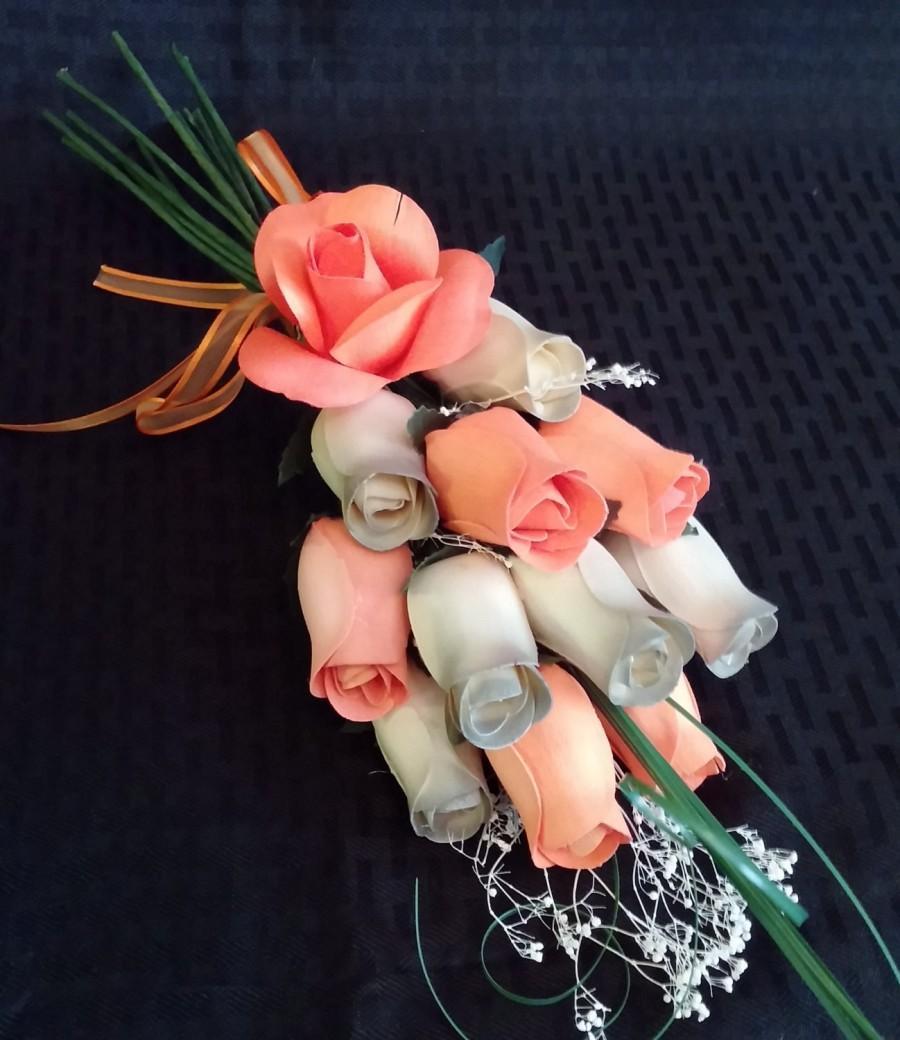 Hochzeit - 2 Color Wooden Rose Bouquet - One dozen