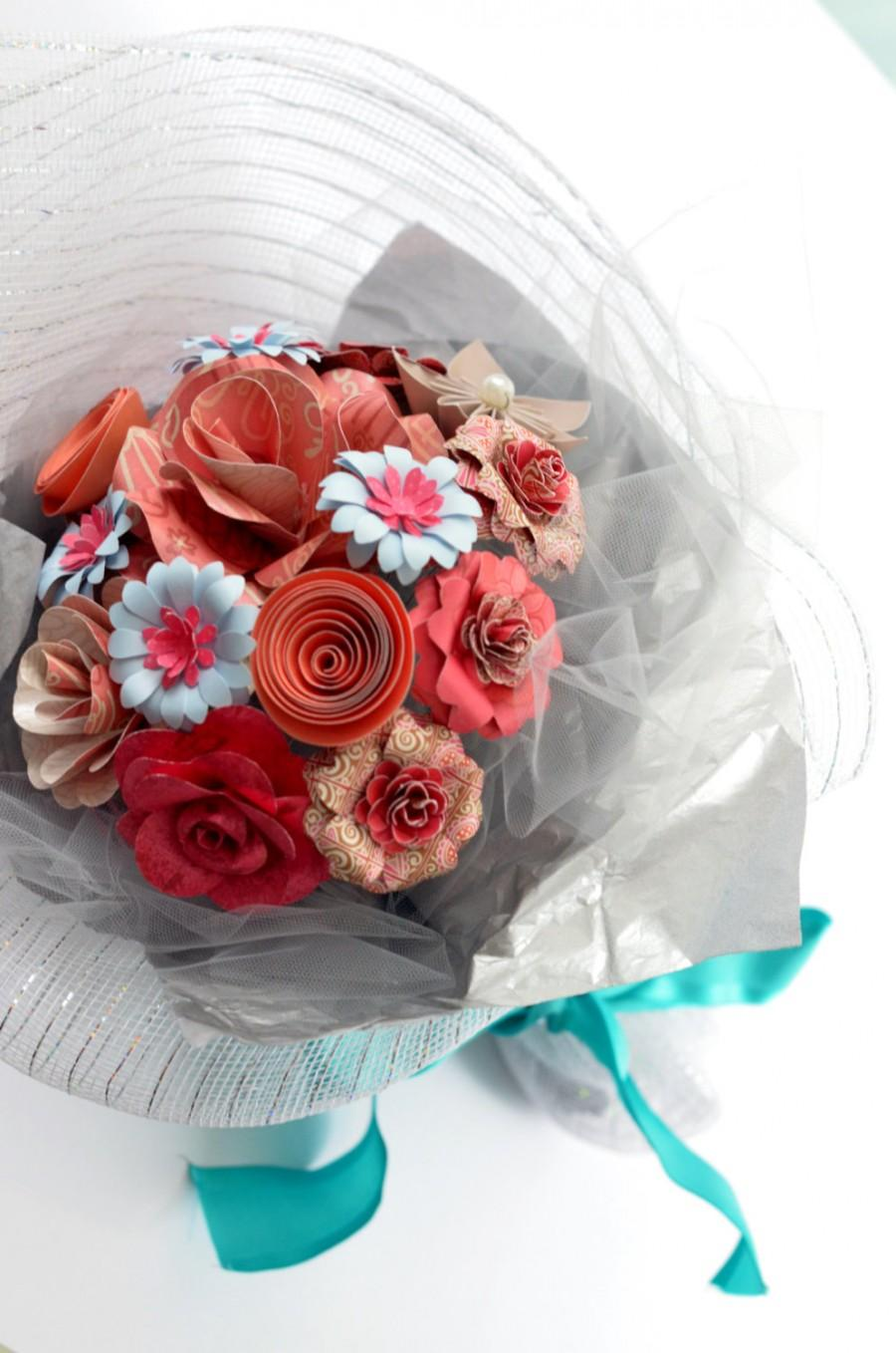 Handmade Paper Flower Bouquet In Gift Wrap - Pink #2427543 - Weddbook