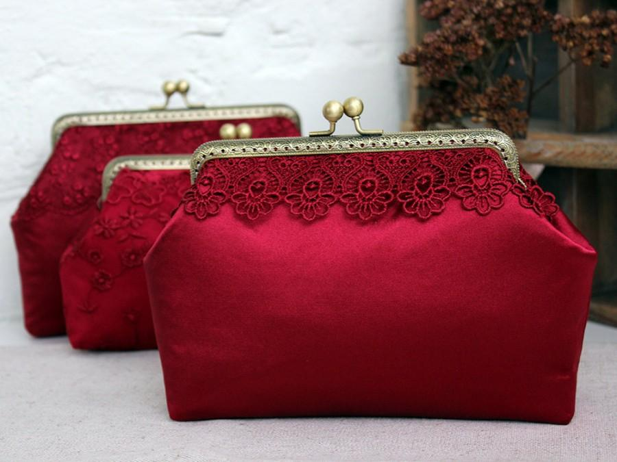 Burgundy Wedding Clutch Marsala Gifts Bridesmaid Gift Bridal Clutches Red Silk Lace Purse Tail