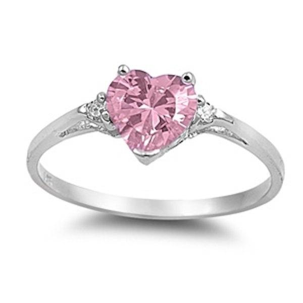 0 50CT Pink Diamond Russian CZ Heart Shape Round 925 Sterling Silver Promise
