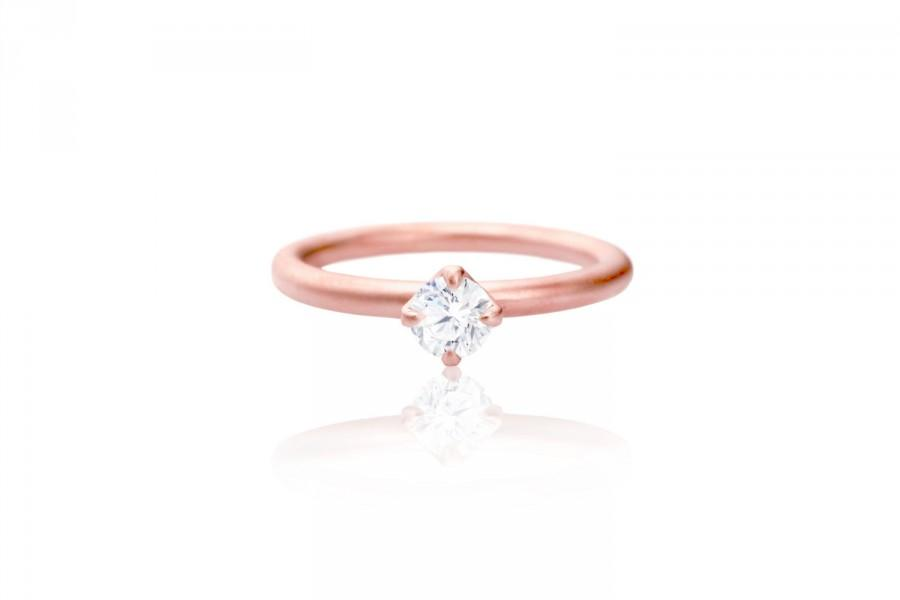 Rose Gold Solitaire Engagement Ring 14k Eco Friendly Diamond White Sapphi
