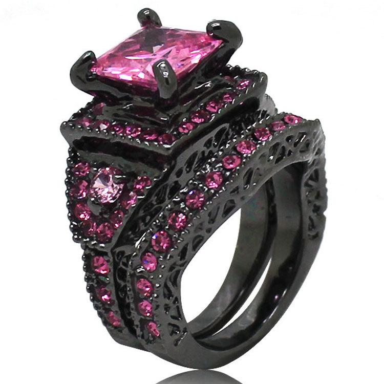 Hochzeit - Square Pink Cubic zirconia Black diamond ring for women size 6 7 8 9 10