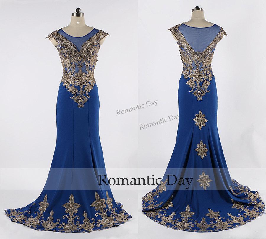 Hochzeit - Luxury New Fashion Scoop Appliques Beaded Cap Sleeve Royal Blue Satin Mermaid Evening Dress/Royal Blue Evening Gown/Custom Made 0432