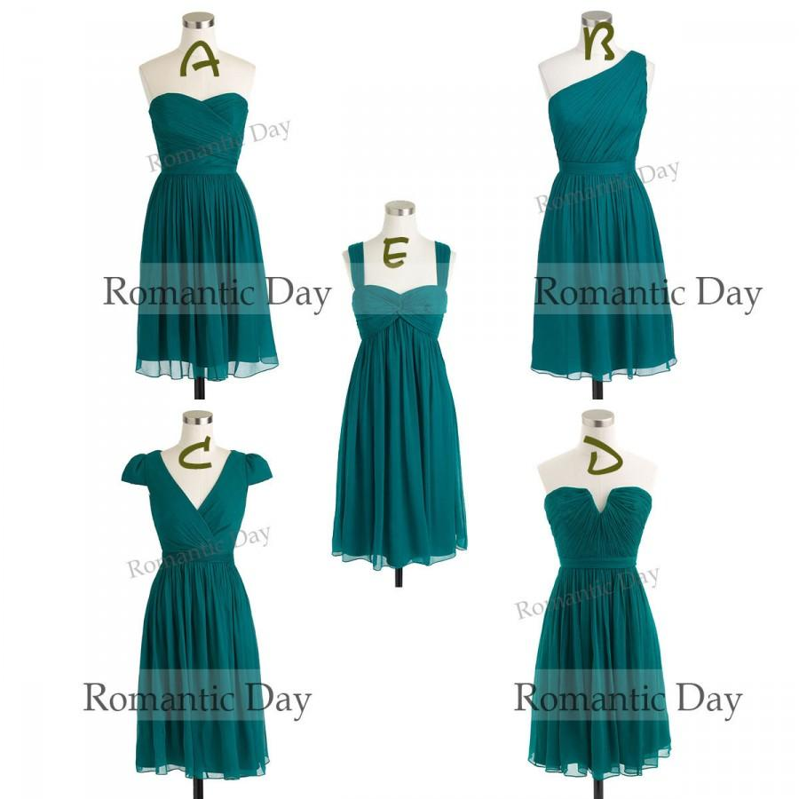 Simple Dark Green Chiffon Short Bridesmaid Dresses/Party Dress/Short ...