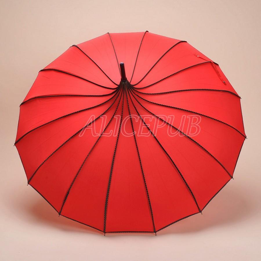 Red Wedding Umbrella Parasol Red Bridal Bridesmaid Umbrella Sun
