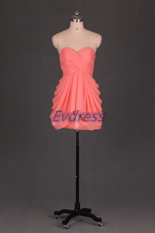 Wedding - 2015 short bridesmaid dresses,coral chiffon bridesmaid gowns.